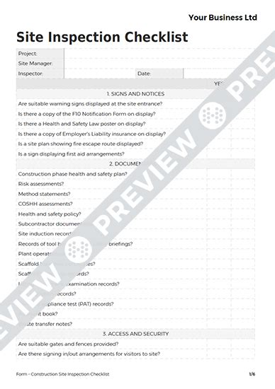 site inspection checklist template inspection checklist template hospi noiseworks co