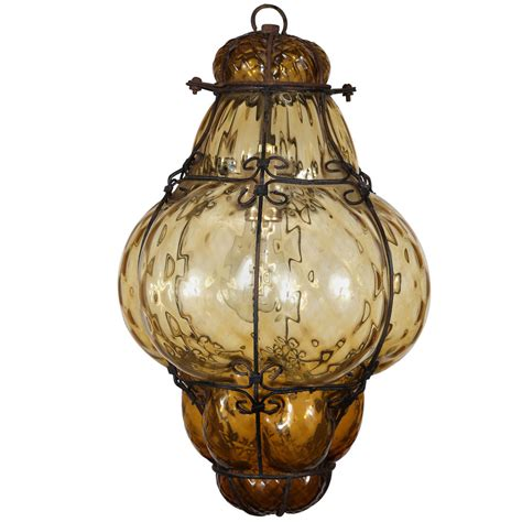 Vintage Hand Blown Seguso Murano Amber Glass Cage Pendant Antique Glass Pendant Lights