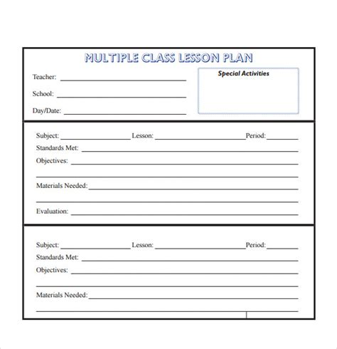 daily lesson plan template word document daily lesson plan template word document
