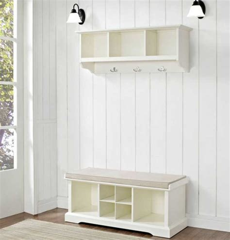 white entryway bench and shelf entryway bench and shelf set in white finish