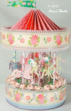 How To Make A Carousel Out Of Paper - vintage carousel with cutting file and assembly