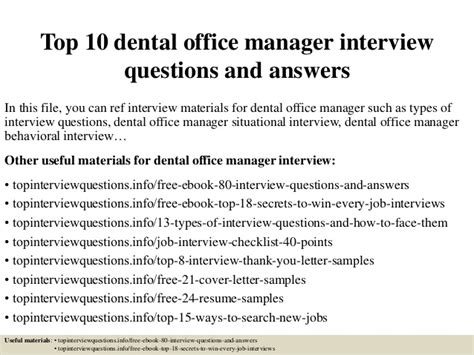 top 10 dental office manager questions and answers