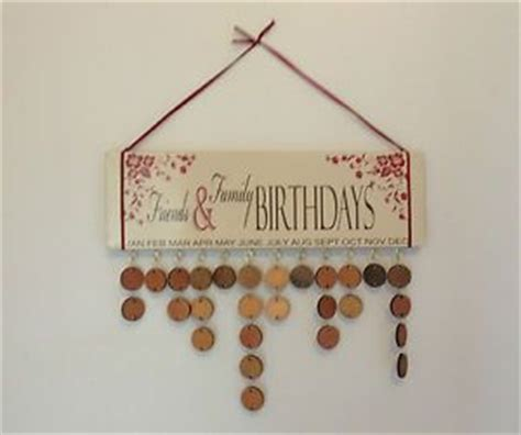 Handmade Birthday Calendar - handmade friends family wooden wall hanging birthday