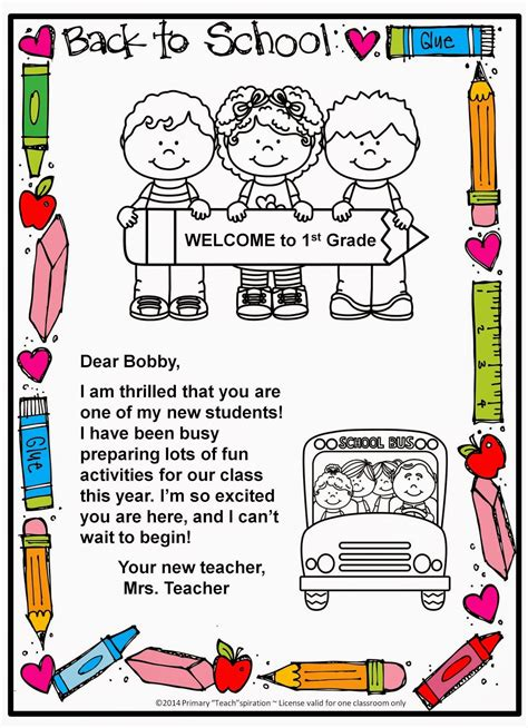 Letter About School Classroom Freebies Back To School Welcome Letter And Postcard