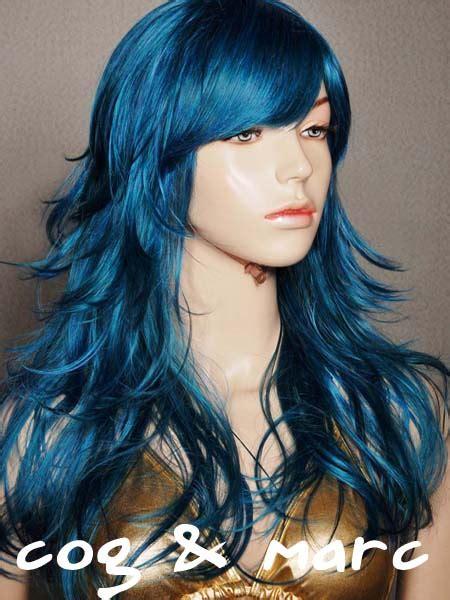 brandy style wig c157 long spike mixed blue fashion cosplay wigs ebay