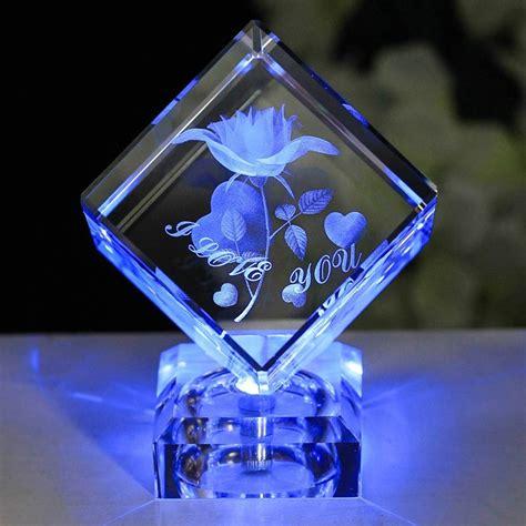 laser engraved crystal with lighted led base aliexpress com buy 3d laser k9 crystal rose engraving