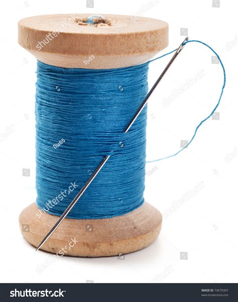 String With Needle And Thread - spool thread needle isolated on white stock photo 74679397