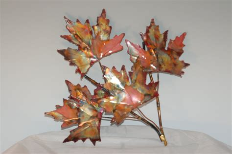 decorative sculptures for the home copper maple leaf branch handcrafted metal sculpturehome