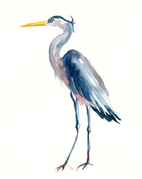 great blue heron by dimdi original watercolor painting