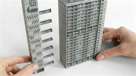 Paper Craft Buildings - brutalist buildings turned into papercraft models