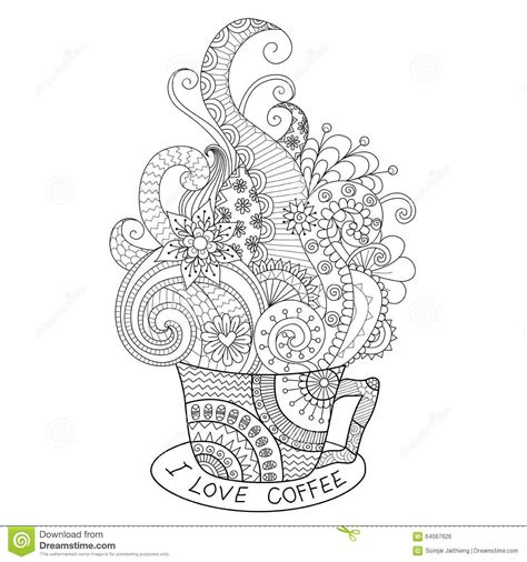 zentangle coloring book a cup of coffee zentangle design for coloring book for