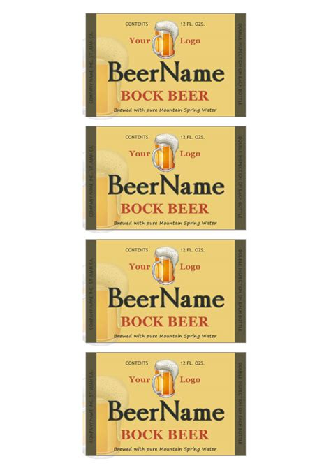 beer label template make your own beer labels
