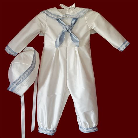 romper sailor with hat sailor style christening romper with blue accents braid