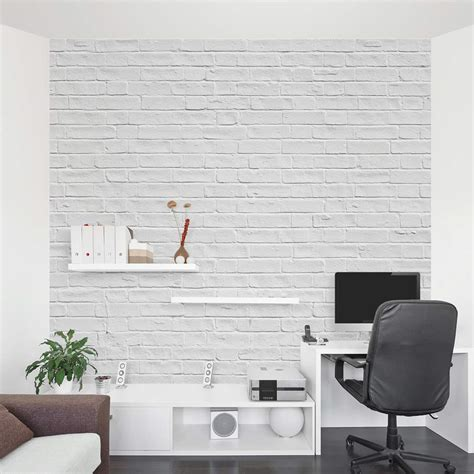 Wall Phrases Stickers white brick wall mural brick wall decal wallums