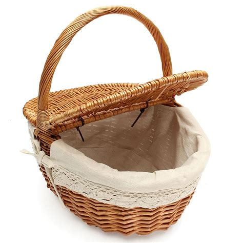 Baskets Handmade - willow wicker picnic basket shopping her with lid and