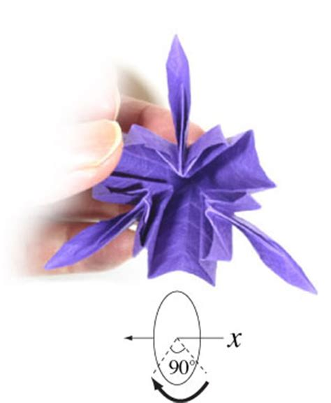 Iris Flower Origami - how to make an origami iris flower page 12