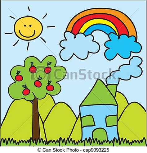 Small Cute House Plans Clipart Vector Of Cute Landscape Drawing Cute Landscape