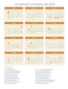 Colombia Kalender 2018 Calendario Colombia A 241 O 2018 Feriados