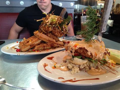 hash house a go go yelp sage fried chicken and waffles back sage fried chicken benedict foreground hash