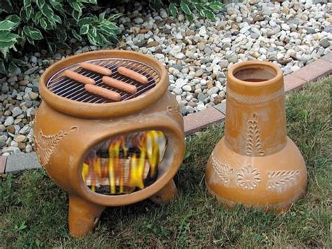 chiminea with cooking grill outdoor chiminea clay http modtopiastudio modern