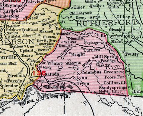 Polk County Nc Records Polk County Carolina 1911 Map Rand Mcnally Columbus Saluda Tryon Mill