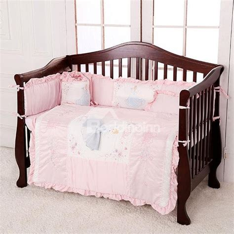 Light Pink Beautiful Princess Theme 7 Piece Cotton Baby Infant Crib Bedding Set