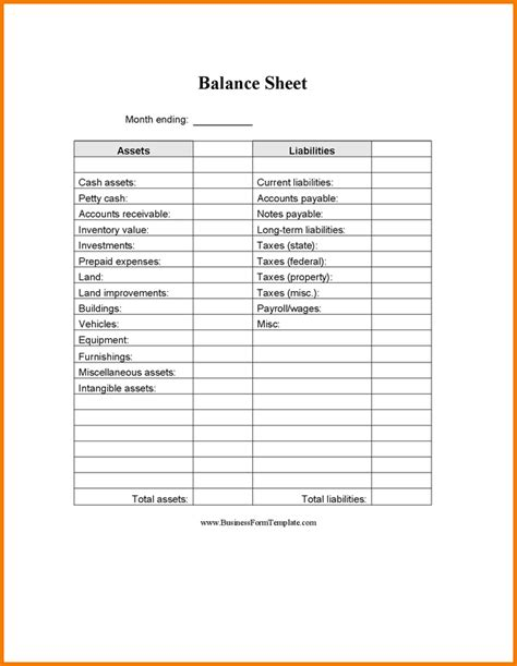 simple balance sheet template free printable and blank balance sheet template sles