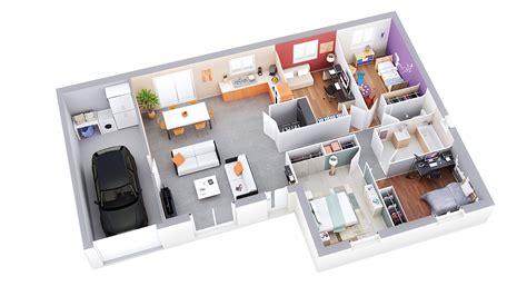 Garage Floor Plan Plan Maison Individuelle Mod 232 Le Zen Ardoise Top Duo