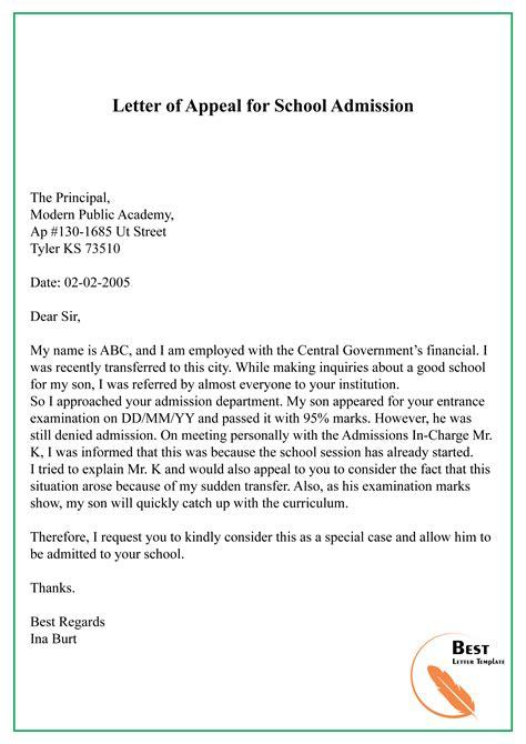 letter appeal school admission letter