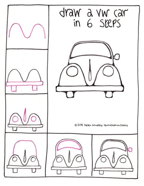 learn how to make doodle draw a vw beetle car in 6 steps learn to draw