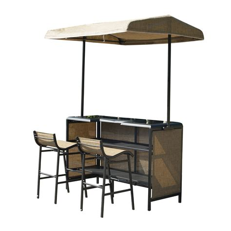 Gazebo With Bar Table Outsunny 3 Outdoor Mesh Cloth Canopy Bar Set Table Two Chairs