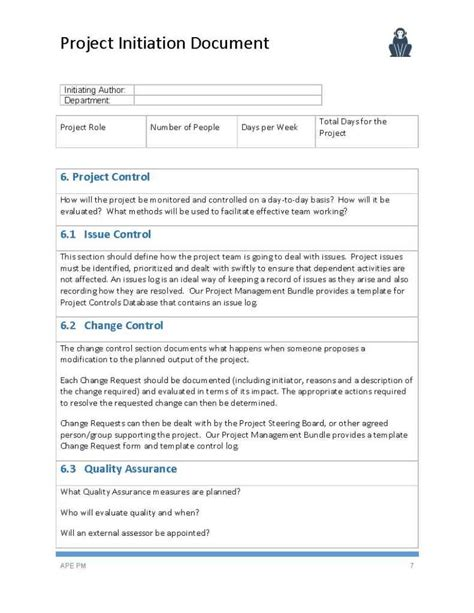 document template project initiation document template ape project management