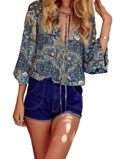 Cameroon Blouse blue l blouse plunge v neck lantern sleeve draped front casual chicuu