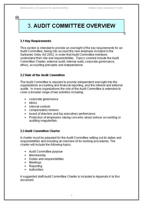 Audit Charter Template Sarbanes Oxley Audit Committee Guide