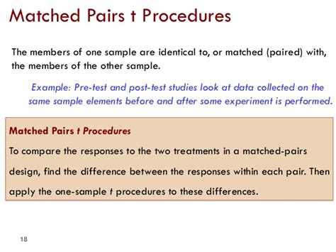 matched pairs design experiment exle chapter 7 inference for distributions the t