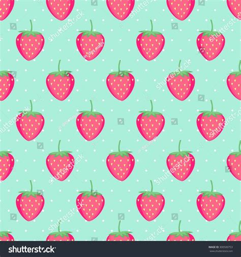 fruit pattern hd seamless background pink strawberries cute vector stock