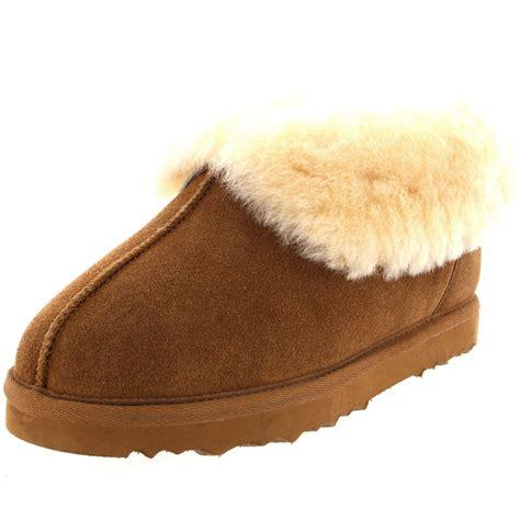 australian shearling slippers womens real suede australian sheepskin fur lined warm