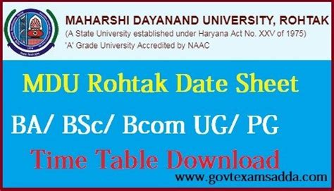 mdu date sheet  ba bsc bcom st   year exam time table