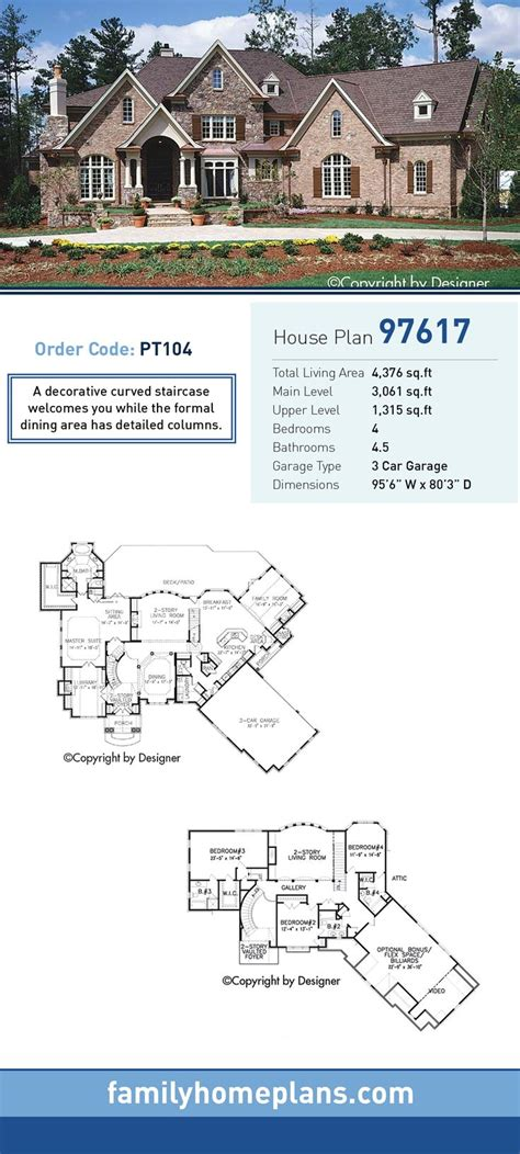 home plan homepw12686 4376 square foot 4 bedroom 4 craftsman house plan 97617 total living area 4 376 sq
