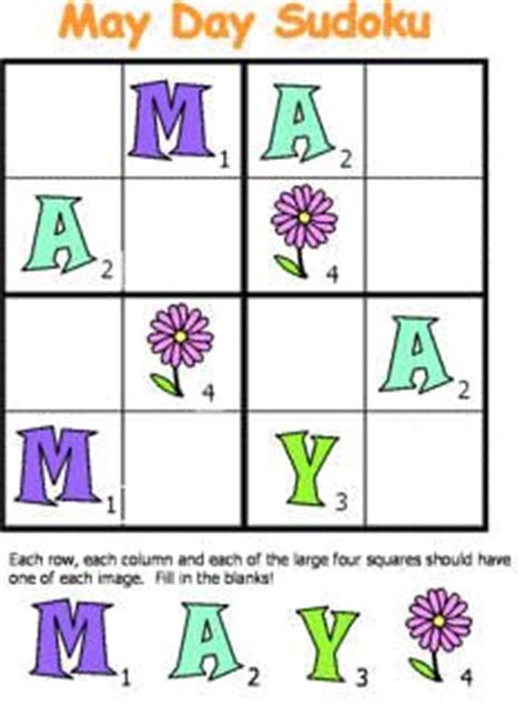 printable sudoku for preschoolers free may day sudoku from dltk s crafts for kids free