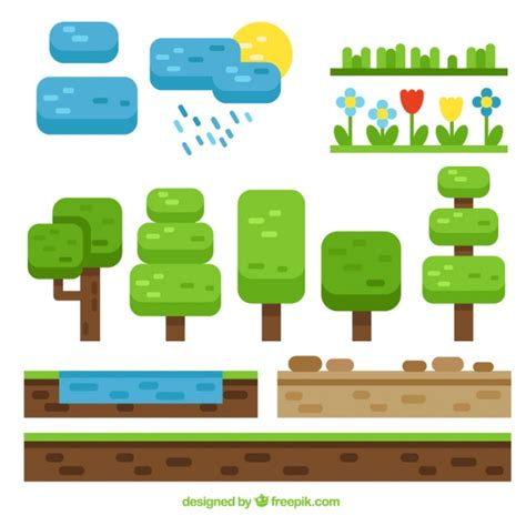 design elements in games videogame nature elements in flat design vector free