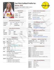 Sports Profile Template by Fast Pitch Softball Player Profile Template Used For