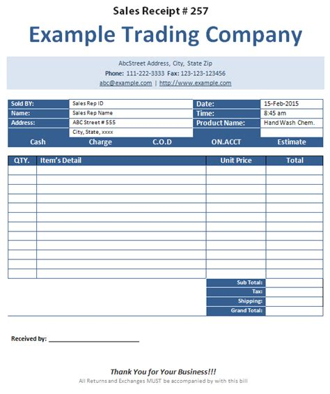 sales receipt template for furniture sales receipt template formats exles in word excel