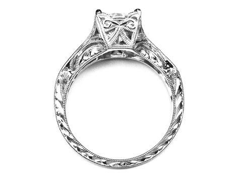engagement ring vintage engraved white gold