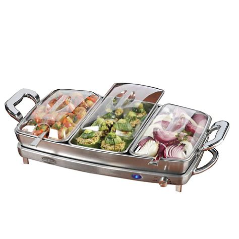Nostalgia Electrics 3 In 1 Deluxe Buffet Server Warming Buffet Server And Warming Tray