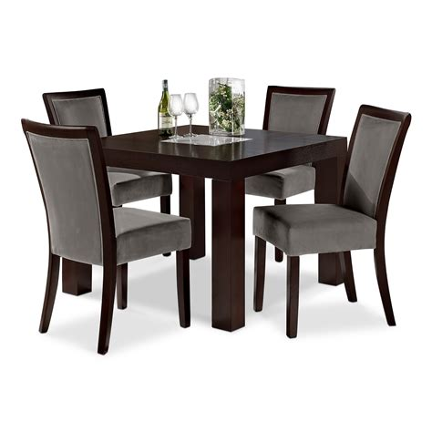 Wood dining room table and four grey upholstered high back chairs set