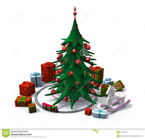 christmas tree with presents and toys stock illustration