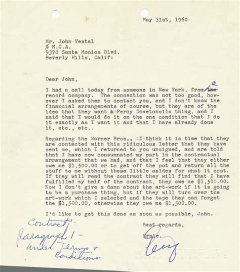 Letter Beverly Ernie Kovacs Typed Signed Letter 4to Beverly Ca May 31 1960