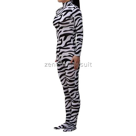 pattern zentai suit lycra zebra pattern spandex zentai suit