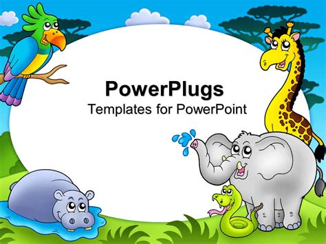 powerpoint template zoo theme with exotic animals with